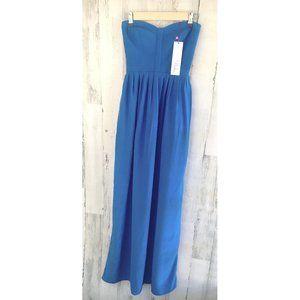 Parker Bayou Dress Silk Maxi Gown Strapless Blue